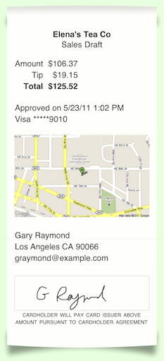 sample receipt with map
